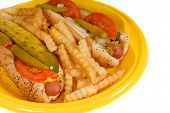 foto of hot dog  - chicago style hot dogs with french fries on yellow plate i - JPG