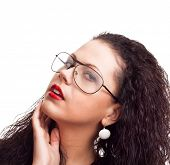 portrait of a beautiful woman with curly hair isolated over white