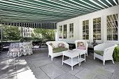 Patio With Green Awning