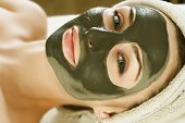 Spa.Mud Mask on the woman's face