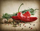 image of indian food  - Herbs and Spices over wooden background - JPG