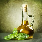 Olive Oil with fresh Basil.Vintage Styled.