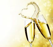 picture of champagne glasses  - Two Champagne Glasses with abstract Heart splash - JPG