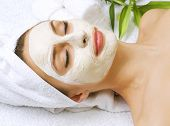 stock photo of facials  - Spa facial clay mask - JPG