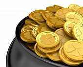 Pot full of golden coins