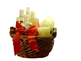 picture of gift basket  - photo of a gift basket full of bath accessories isolated via clipping path on white background - JPG