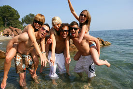 image of beach party  - Group of friends having fun at the beach - JPG