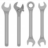 Various Wrenches Set. Wrench Isolated On White Background. Vector Illustration poster