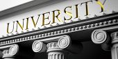 University written on a marble pillars building facade, close up view. 3d illustration poster