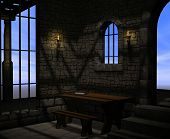 stock photo of stockade  - A dark and musty stone prison with bars on the windows and torches for light - JPG