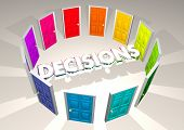 Decisions Choices Doors Potential Opportunities 3d Illustration poster