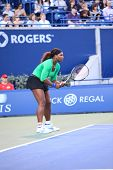 TORONTO: AUGUST 12. Serena Williams plays against Jie Zheng in the Rogers Cup 2011 on August 12, 201