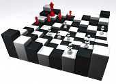foto of reign  - illustration of damero of high chess with peons and it reigns in red color - JPG