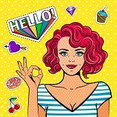 Ok Pop Art Girl. Fine Art Fashion Women, Vintage Popart Lady Face With Okay Hand Sign Vector Illustr poster