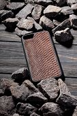Exclusive Brown Snake Leather Case For Smartphone,luxury Case. On Stone Background poster