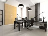 Interior Of The Cabinet In Office 3D Rendering. You Can Hang Your Illustration On Wall