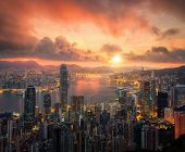 Vertical Panoram Of Hong Kong City From Night To Day Time, Hongkong City Scape With Sun And Light Fr poster