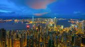 Hong Kong Skyline From View Point Of Victoria Peak. The Cityscape And Harbor From Top Of The Peak, H poster