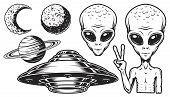 Aliens And Ufo Set Of Vector Objects And Design Elements In Monochrome Style Isolated On White Backg poster