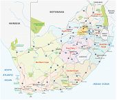 South Africa Road, Administrative And Political Vector Map poster