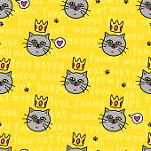 Yellow Background With Funny Cat, Hearts And Text. Vector Seamless Pattern With Animal. Funny Face. poster