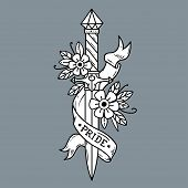Vector Tattoo Dagger With Flowers And Ribbon. Ancient Oriental Dagger Decorated With Large Sapphire. poster