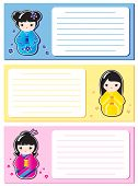 Cute Kokeshi stickers on notes or invitations. Space for your text. Also available in vector format.