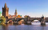 Prague Charles Bridge, Czech Republic. Scenic Landscape Of Prague City With Historical Architecture  poster