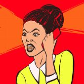Angry Brunette Woman With Mobile Phone. Hand Drawn Vector Illustration. poster