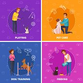 People With Pets 2x2 Design Concept With Pet Care Dog Training Playing And Feeding Square Icons Cart poster