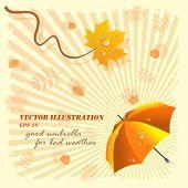 Good umbrella for bad weather, vector illustration
