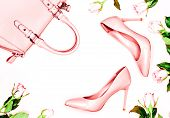 Pastel Pink Women High Heel Shoes On Blue Background. Flat Lay, Top View Trendy Fashion Feminine Bac poster