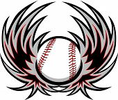 stock photo of fastpitch  - Graphic baseball ball sports image with wings - JPG