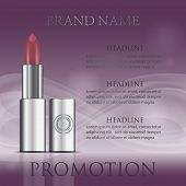 Red Realistic Lipstick Tube Mockup. Fashion Cosmetic Purple Ads. Brand Hydrating, Glossy, Facial, Go poster