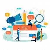 News Update, Online News, Newspaper, News Website Flat Vector Illustration. News Webpage, Informatio poster