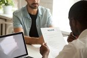 African American Hr Manager Holding Applicants Curriculum Vitae At Job Interview, Black Recruiter Or poster