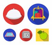 Trolley With Luggage, Safe, Swimming Pool, Clutch.hotel Set Collection Icons In Flat Style Vector Sy poster
