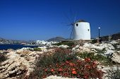 Traditional Whitewashed Windmill - Paros Island, Greece