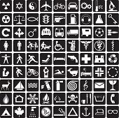 81 black and white icons, symbols collection