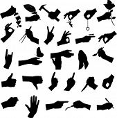 Collection of hand and tool, vector illustration.