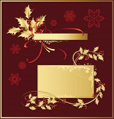 Vector set of Christmas and New-Year's decorations (objects, background and banner)