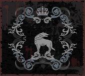 Etiqueta vintage con el lobo y la corona. Ilustración del vector.