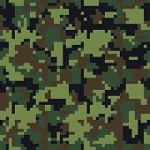 Постер, плакат: Pixel Camo Seamless Camouflage Pattern Military Camouflage Texture Green Brown Forest Soldier