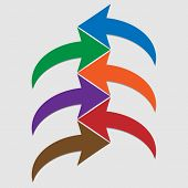 Set Of Colored Arrows On White Background. Curved Colorful Arrows. Six Vector Arrows. Design Element poster