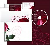 Business style with red rose, vector illustration