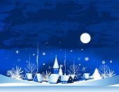 pic of card christmas  - Christmas card with town - JPG