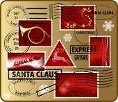 Set of Christmas mail's elements, vector illustration