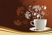 Cup of coffee with abstract design elements, illustration.