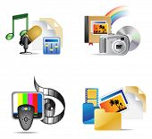 Set of multimedia internet icon, illustration