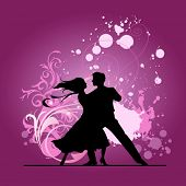 Ballroom dancers. All elements and textures are individual objects. Vector illustration scale to any